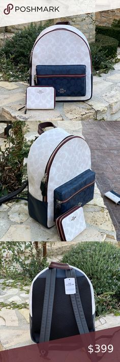 NWT Coach signature md Charlie Backpack&wallet Guaranteed authentic Brand new with tags Bundled set backpack&wallet Coach Bags Backpacks Coach Handbags, Coach Bags, New York Bridge, Gym Bag, Blue And White, Brand New, Backpacks, Wallet, Tags