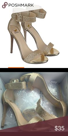 Gold heels Worn once for bridal party photos. No scuffs or marks on shoe. Only dirty on bottom from walking. Super cute!! I would keep them but These shoes were slightly too small for me and I bought them last minute. Shoes