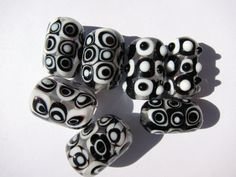Spot On. Black and White Handmade Glass Lampwork Bead Set by AnnOo, $28.00