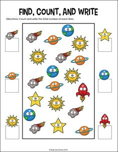 Space I Spy Math page (Part of the Free Outer Space Math Worksheets Packet.Outer Space I Spy Math page (Part of the Free Outer Space Math Worksheets Packet. Kindergarten Math Worksheets, Worksheets For Kids, In Kindergarten, Math Activities, Preschool Activities, Planets Preschool, Outer Space Activities, Math Math, Space Theme Preschool