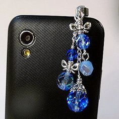 Cell Phone Charm Plugs | Cell phone charm plug, bows and beads, blue fire polish beads, bling ...