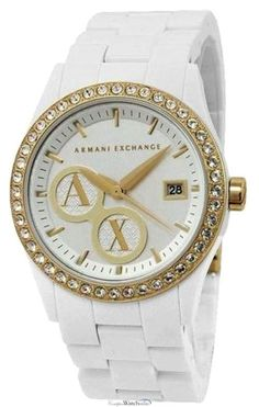 Armani Exchange Crystal Accents Silver Dial Women's « Impulse Clothes Luxury Watches, Rolex Watches, Wrist Watches, Armani Watches For Women, Coast Fashion, Fendi, Gucci, Metal Bands, Coach Handbags