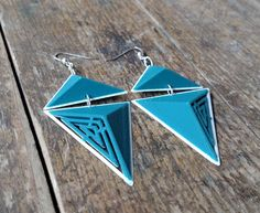 3D Printed Geo Bold Triangle Earrings, Dark Teal Blue and White ABS and Sterling Silver Links, Lightweight Bold Design by FISH3Ddesigns on Etsy