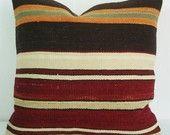 Sukan / SET (2 Pillow) Organic Shine Society Modern Bohemian Throw Pillow. Wool Vintage Tribal Turkish Orange Kilim Pillow Cover. 16x16. $178.95, via Etsy.