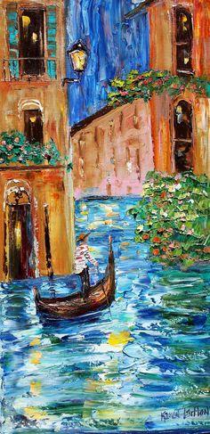 Original pintura al óleo noche Venecia Resumen espátula impresionismo en lienzo arte de Karen Tarlton