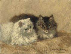 Henriette Ronner-Knip (Dutch, 1821-1909)  Two Resting Cats  signed and dated 'Henriette Ronner 93' (lower right)  oil on panel  13¾ x 17¾ in. (35 x45 cm.)  Painted in 1893. private collection
