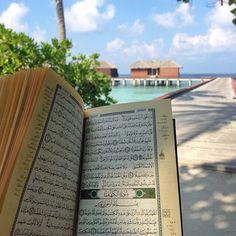 Beach and quran Quran Pak, Islam Quran, Quran Quotes, Islamic Quotes, Allah Quotes, Quran Karim, Quran Recitation, Ramadan Decorations, Its Friday Quotes