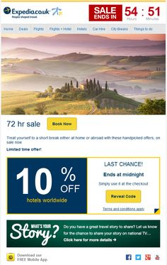 http://www.wiredmarketing.co.uk/insider/july-top-20-professional-email-templates/ Expedia's July template