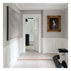 mock-Tudor Surrey home Farrow & Ball Cornforth white + Wimborne white panelling MoreS&S S&S may refer to: Living Room Paint, Living Room Grey, Farrow And Ball Living Room, Dado Rail Living Room, Farrow And Ball Kitchen, Living Room Panelling, Living Area, Living Rooms, Ideas Paneles