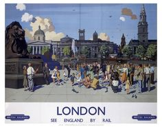 This London, see England by rail Art Print Art Print is created using state of the art, industry leading Digital printers. The result - a stunning reproduction at an affordable price. London, see England by rail Posters Uk, Train Posters, Railway Posters, Poster Prints, 1950s Posters, Art Prints, London Poster, London Art, British Travel