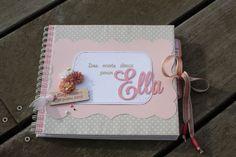 livre d'or bapteme Ella tons ivoire, lin, gris et rose pale et papillons