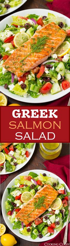 Greek Salmon Salad with Lemon Dill Vinaigrette - this salad is AMAZING! Could sub chicken for the salmon for a cheaper alternative.