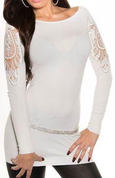 Biała tunika z koronka na ramionach 8259