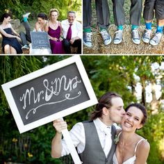 colorful groomsman socks.  and adorable sign for #engagementpics
