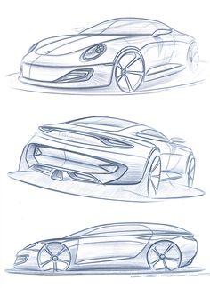 Sketchbook - Studio F. Porsche on Behance Cool Car Drawings, Drawing Sketches, Sketching, Car Design Sketch, Car Sketch, Car Drawing Pencil, Porsche 2017, Car Illustration, Futuristic Cars