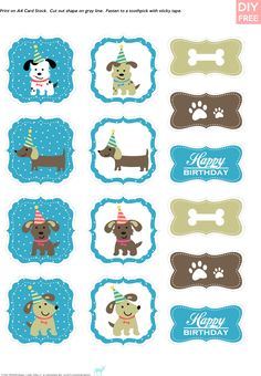 DIY Free Doggy Party Blue Cupcake Toppers - JustLoveDesign