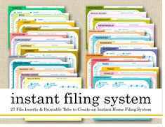Printable Instant Filing System, 27 File Cards/Index, Pre-Printed Hanging File Tabs, Paper Organizer, Filing Guide – home office organization files Organizing Paperwork, Organizing Tips, Organizing Labels, Organizing Your Home, Organising, Clutter Organization, Home Office Organization, Filing Cabinet Organization, Money Saving Tips