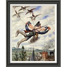 "Global Gallery 'Illustrations For the Adventures of Baron Munchausen' by Alphonse Adolf Bichard Framed Painting Print Size: 36"" H x 29.41"" W"