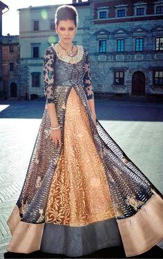 Smashing Navy Blue and Dusty Orange Designer Salwar Kameez