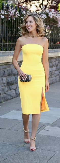 What to weat to a spring or summer wedding {yellow strapless fitted dress with slit, nude ankle strap heeled sandals, black minaudiere, gold collar necklace, curled hairstyle}  What to wear to a spring or summer wedding