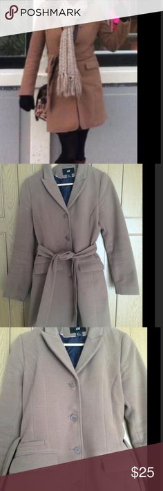 H&M fitted & belted camel coat Size 8 camel coat by H&M- I've had this a few years & it's in GUC - definitely has a lot of life left in it. In addition be being cute, it's also exceptionally warm for a dress coat! H&M Jackets & Coats