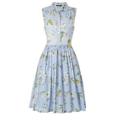 Spring Bloom Flared Shirt Dress Woman ❤ liked on Polyvore featuring dresses, blue dress, floral flare dress, oversized shirt dress, blue floral dress and full skirt