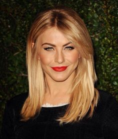 Julianne Hough with rose gold / golden blonde hair and green eyes, great for a warm skin tone