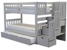 Bunk Bed Twin over Twin Stairway Gray with Trundle for only $798