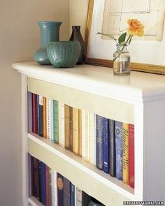 Martha Stewart Living, September To protect books from dust, crisp lengths of linen can be hung from shelves. The technique, used in old Swedish libraries, also gives a neat appearance to uneven volumes. Martha Stewart Home, Santas Workshop, Homekeeping, Book Lovers Gifts, Home Hacks, Diy Hacks, Dresser Drawers, Spring Cleaning, Home Organization