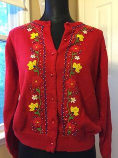 Beaded Sweater  DKNY Floral Motif  Vintage by PineStreetPickers