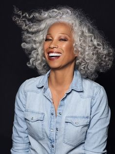 Locke Management | TERUKO BURRELL Grey Curly Hair, Silver Grey Hair, Curly Hair Styles, Natural Hair Styles, Hairstyles Over 50, Cool Hairstyles, Grey Hair Over 50, Hair Afro, Silver Haired Beauties