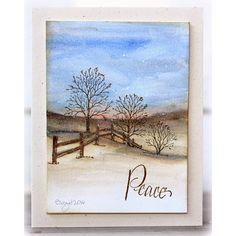 Serendipity Stamps Winter Fenceline and Seasons rubber stamps. Stamping and Watercolor - perfect together!