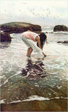 Steve Hanks Conferring with the Sea c.1990, watercolor by Plum leaves, via Flickr