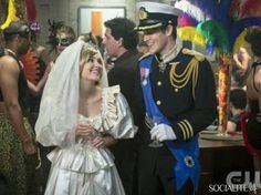 """The Carrie Diaries -- """"Fright Night"""" -- Pictured (L-R): AnnaSophia Robb as Carrie and Brendan Dooling as Walt -- Image Number: -- Photo: David Giesbrecht/The CW -- © 2013 The CW Network, LLC. All rights reserved. Diana Wedding Dress, Princess Diana Wedding, I Love Series, Girls Series, Tv Series, The Carrie Diaries, Annasophia Robb, Navy Jacket, Fright Night"""