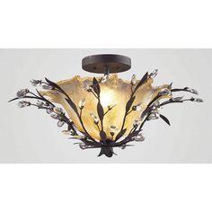 "Circeo Deep Rust Flush Mount Ceiling Light  24""w x 12""h 2 60 w bulbs $250.00"