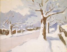 FAIRFIELD PORTER / Snow – South Main Street / circa 1972 / Oil on paper on panel