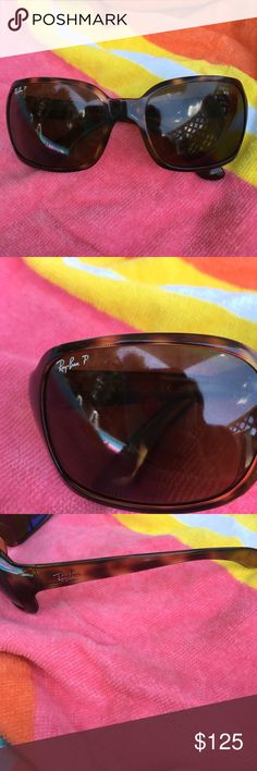 Polarized Ray Ban Sunglasses A pair of polarized ray ban sunglasses. The frame is plastic and brown in color.  Like new only worn a couple of times.  With an over size frame these glasses are perfect for a day on the beach. Ray-Ban Accessories Glasses
