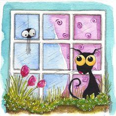 Original watercolor painting whimsical Stressie Cat window flowers spider #IllustrationArt