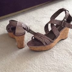AnkleStrap wedge sandal Wedge sandal taupe straps Franco Sarto Shoes Wedges