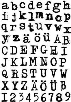 """Klartext-Stempel """"Schreibmaschine"""" Alphabet"""