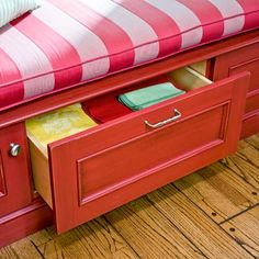 Built-in drawers provide easy access without removing a seat cushion. | Photo: Mark Lohman | thisoldhouse.com