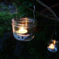 Wedding decorations? or maybe just summer-outdoor, lighting......Repurpose all your used jars by turning them into lanterns!