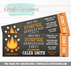 Printable Bonfire Chalkboard Ticket Graduation Invitation - Fire Pit Graduation Party - High School or College Graduation Invitation Graduation Invitations College, Graduation Announcements, College Graduation, Grad Invites, Graduation Ideas, Ticket Invitation, Printable Birthday Invitations, Party Invitations, Printable Thank You Cards