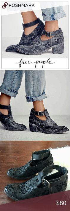 Free People Distressed Leather Lina Ankle Boots Free People + Faryl Robin Springfield 'Lina' Leather Stitch Embroidered Distressed Ankle Boots in Black. Pigskin lining.  sz 9  Worn a few times, some wear. Very comfortable. Free People Shoes Ankle Boots & Booties
