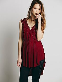Dancing All Night Top | Sequin and bead embellished sleeveless tunic in a soft linen jersey. Strappy V-neck and deep V-back with an adjustable tie at the waist for a belted look.
