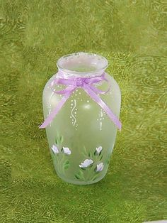 $18, ready to ship - Mother's Day Gifts, Ready to Ship - Adorable Cottage Chic Frosted Mini Vase, Lavender Roses, Lace and Ribbon - Hostess Gift under 30 dollars by HandPaintedPetals on Etsy