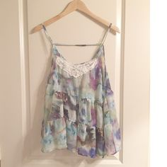 Sheer Floral Babydoll Floral watercolor Babydoll. Preowned. Julie's closet. Relaxed fit. Sheer. Size Lg. 17.5 in across at underarms. 26 in long. Some loose strings but no holes or tears. Julie's Closet Tops