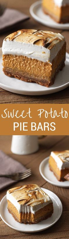 Sweet Potato Pie Bars with a thick graham cracker crust, fresh sweet potato filling, and tall toasted homemade marshmallow topping. To make this GF, just use GF graham crackers! Sweet Potato Dessert, Sweet Potato Recipes, Fall Desserts, Just Desserts, Dessert Recipes, Fall Recipes, Holiday Recipes, Yummy Treats, Sweet Treats