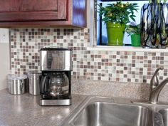 HGTV Remodels: Expert tips on self-adhesive backsplash tiles plus inspirational pictures and ideas for choosing tiles and installing a kitchen backsplash.