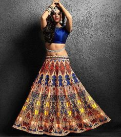 Cast a spell with this mysterious multicolored floor length skirt projecting a fairytale theme with its mystic print all over. Buy it online - http://www.aishwaryadesignstudio.com/stunning-multicolor-designer-skirt